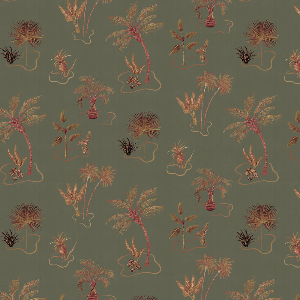 Solitude Wallpaper - Olive Green - by Wear The Walls