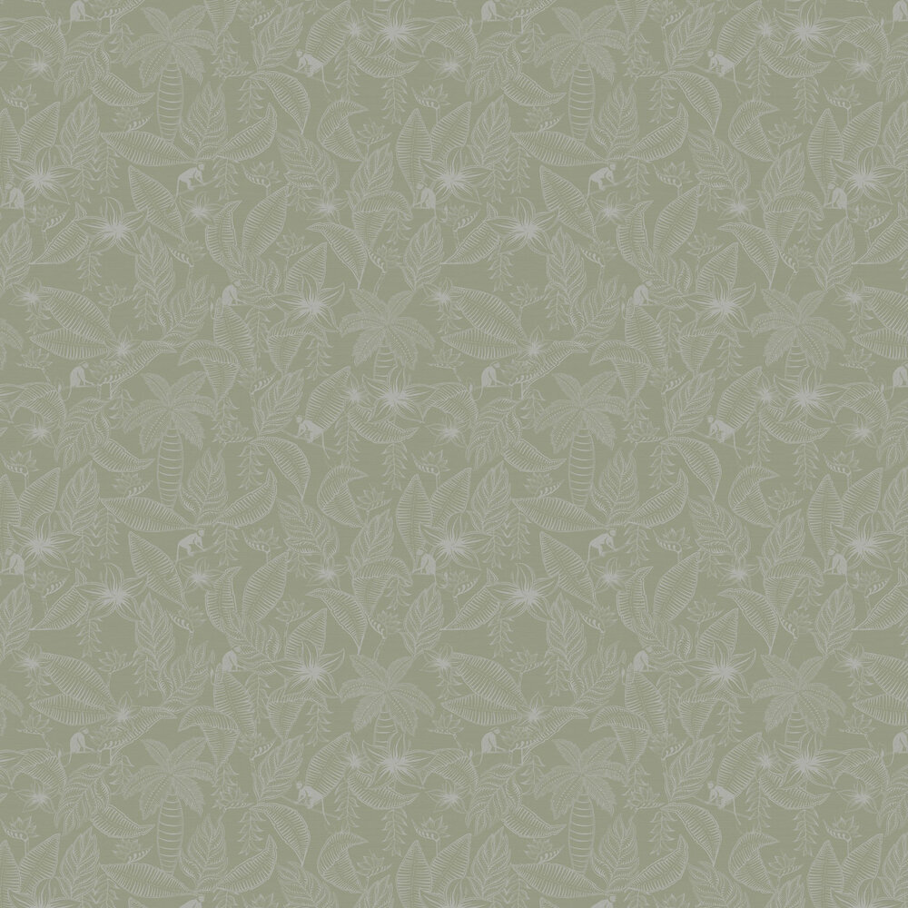 Monflo Wallpaper - Sage - by Ted Baker