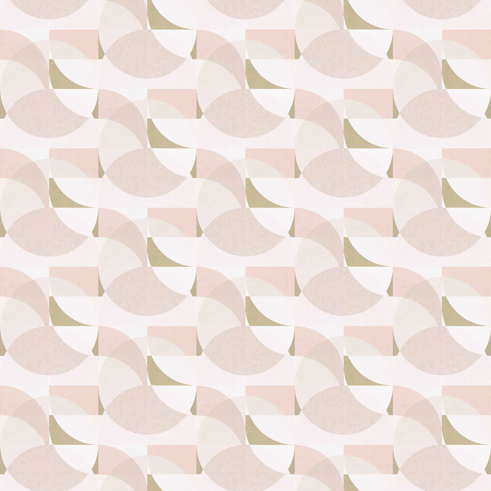 Geometric Circle Graphic Wallpaper - Blush Pink/ Gold/ Cream - by Galerie