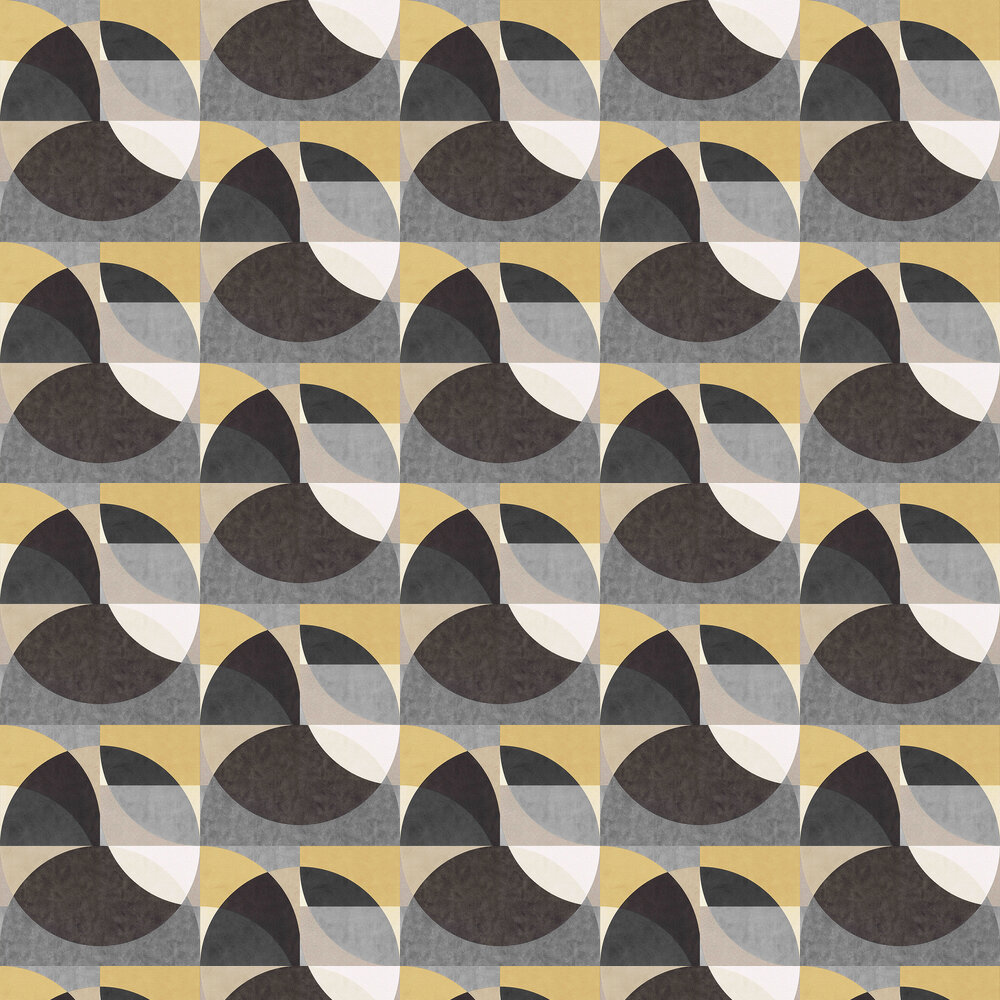 Geometric Circle Graphic Wallpaper - Gold/ Grey/ Cream - by Galerie