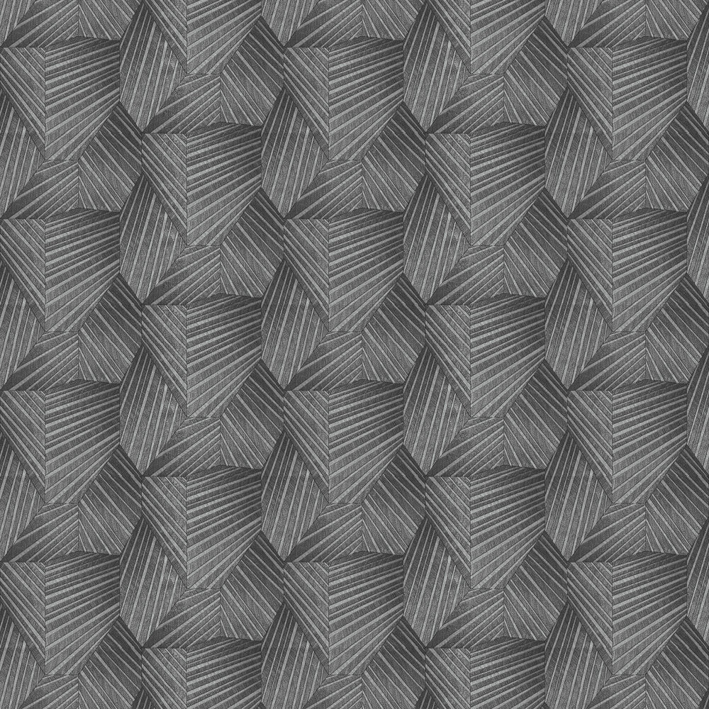Geometric D Triangle Wallpaper - Black/ Silver - by Galerie