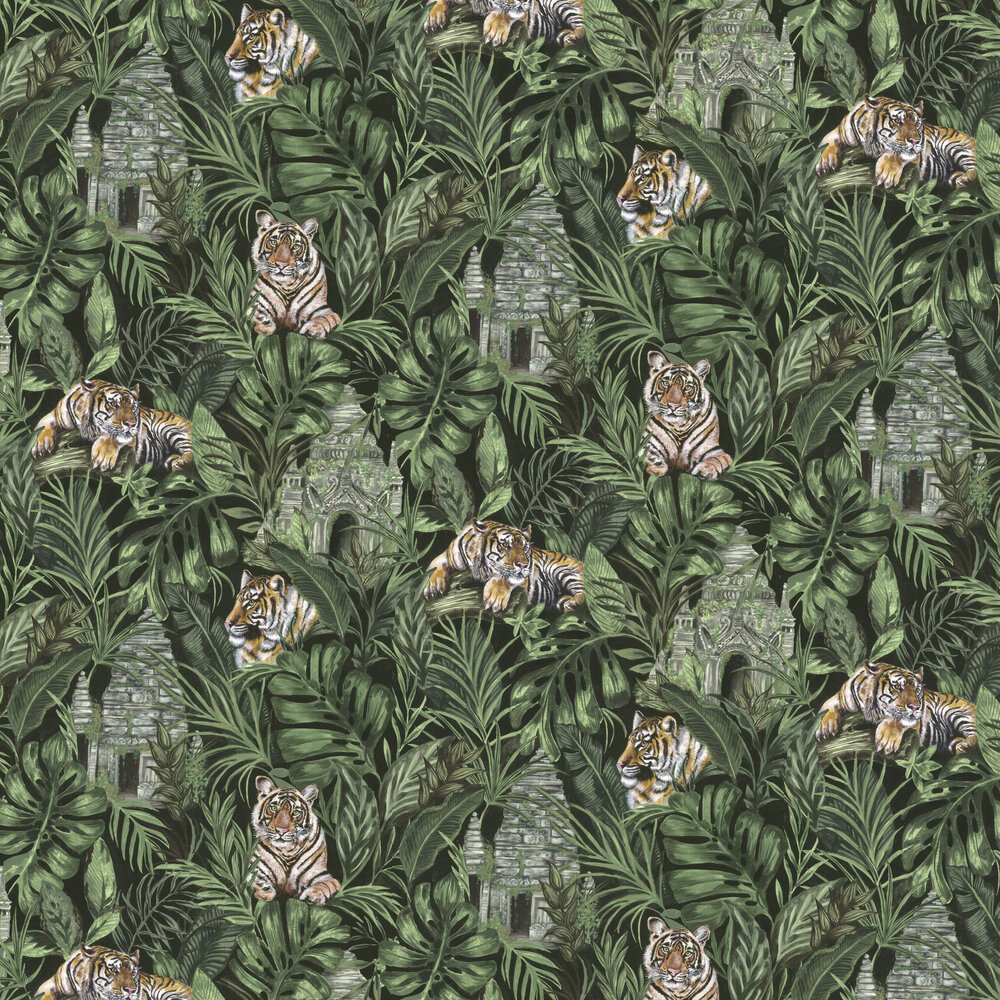 Tiger Temple Wallpaper - Green - by Graduate Collection