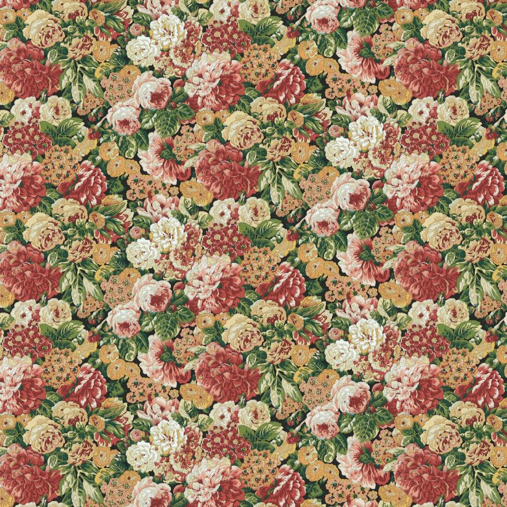 Rose & Peony Wallpaper - Amanpuri Red / Devon Green - by Sanderson