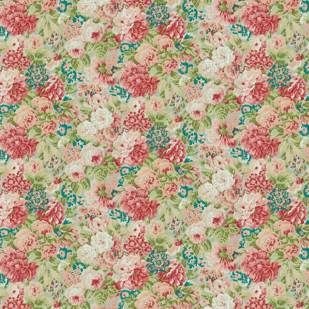 Rose & Peony Wallpaper - Blue Clay / Carmen Lt - by Sanderson