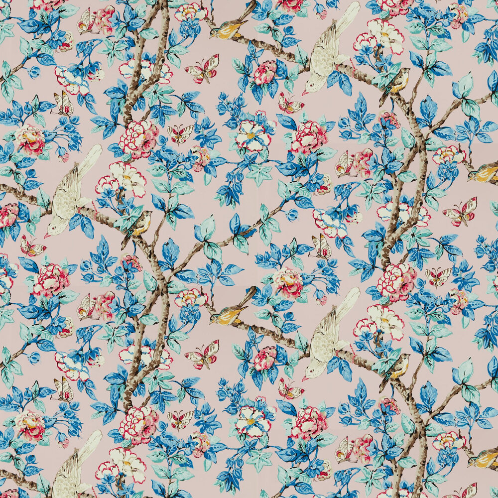 Caverley Wallpaper - Rose / French Blue - by Sanderson