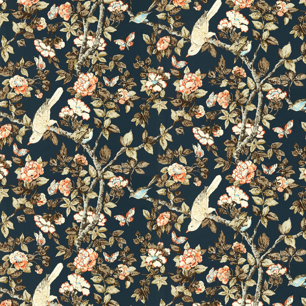 Caverley Wallpaper - Indigo Blue / Rowan Berry - by Sanderson