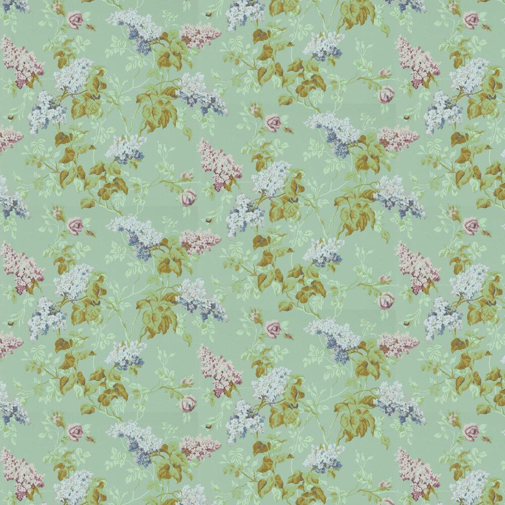 Sommerville Wallpaper - Mint / Plum - by Sanderson
