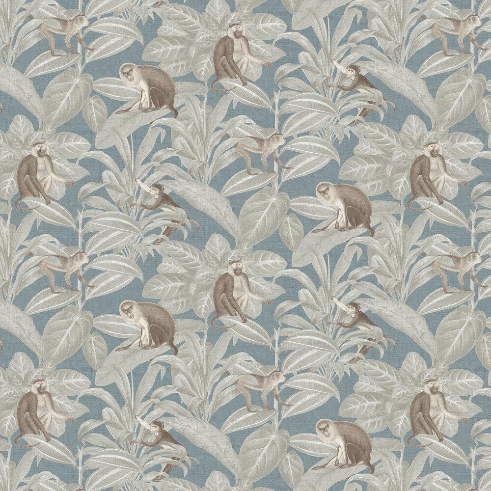 Indian Monkey Wallpaper - Teal - by SketchTwenty 3