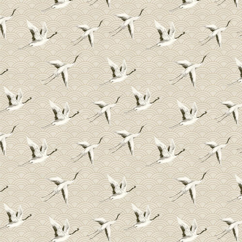 Japanese Cranes Wallpaper - Light Gold - by SketchTwenty 3