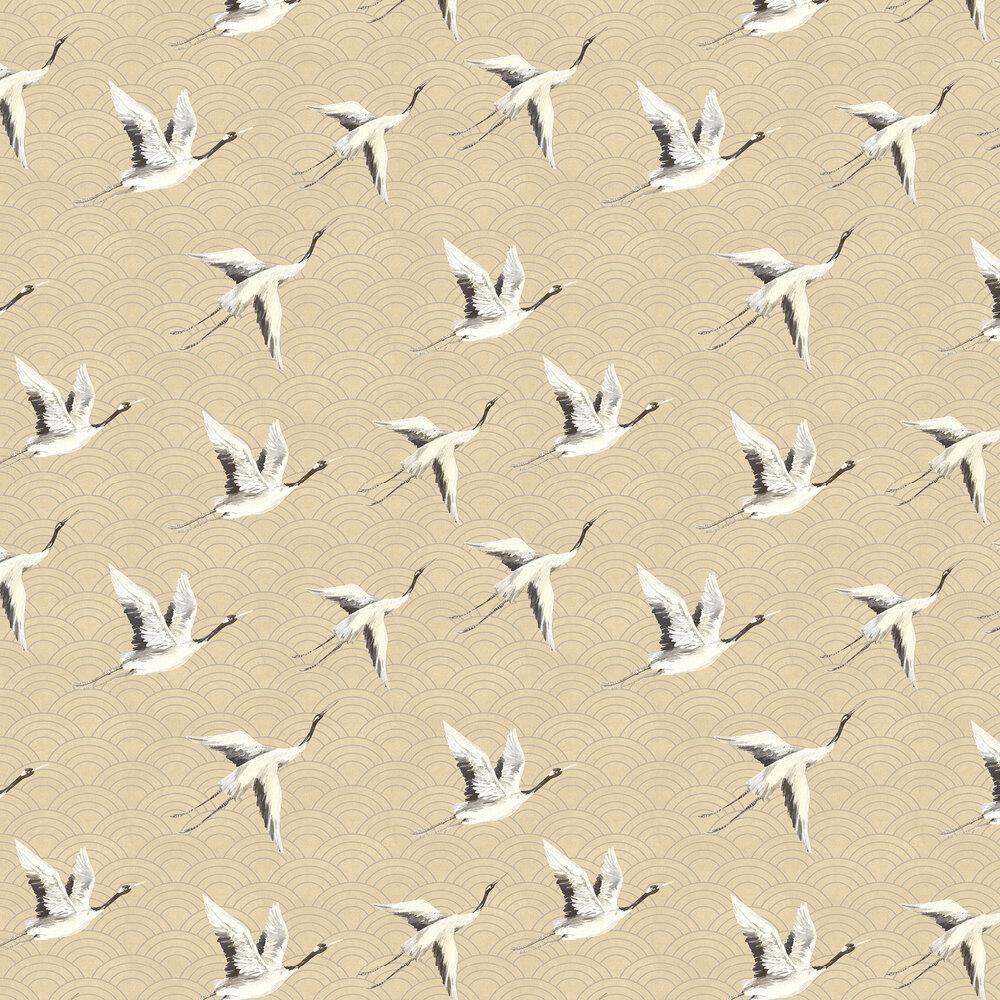Japanese Cranes Wallpaper - Rich Gold - by SketchTwenty 3