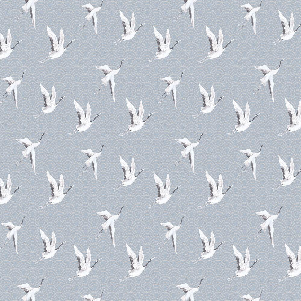 Japanese Cranes Wallpaper - Teal - by SketchTwenty 3