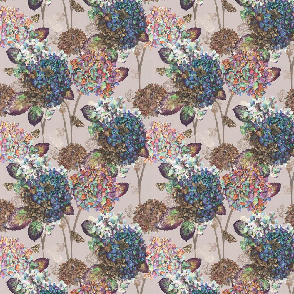 Autumn Hydrangea Wallpaper - Pebble - by Isabelle Boxall
