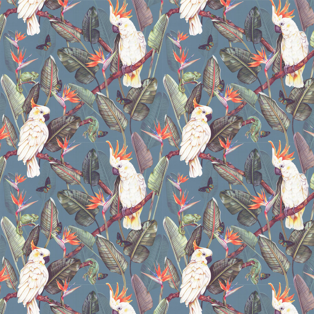 Birds of Paradise Wallpaper - Steel Blue - by Isabelle Boxall