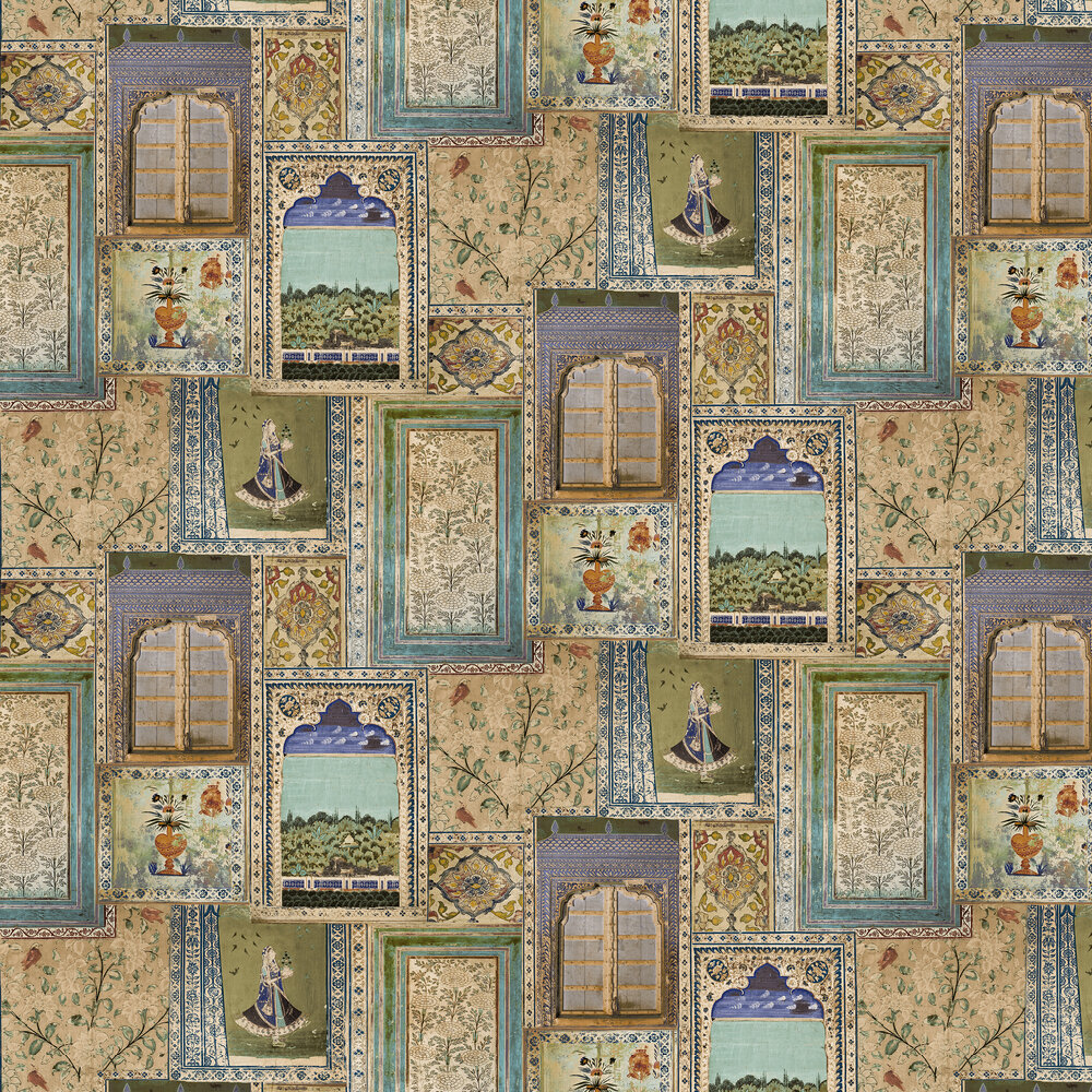 Summer palace Wallpaper - Multi/Teal - by Sidney Paul & Co