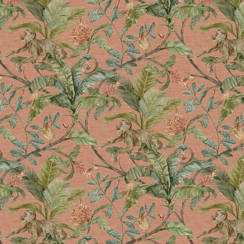 Capuchin Wallpaper - Coral - by Sidney Paul & Co