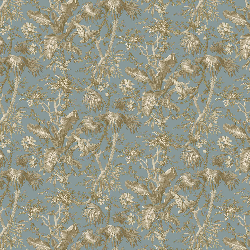The Lost Gardens Toile Wallpaper - Teal - by Sidney Paul & Co
