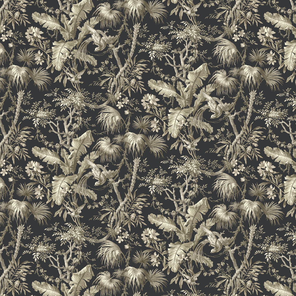 The Lost Gardens Toile Wallpaper - Slate - by Sidney Paul & Co