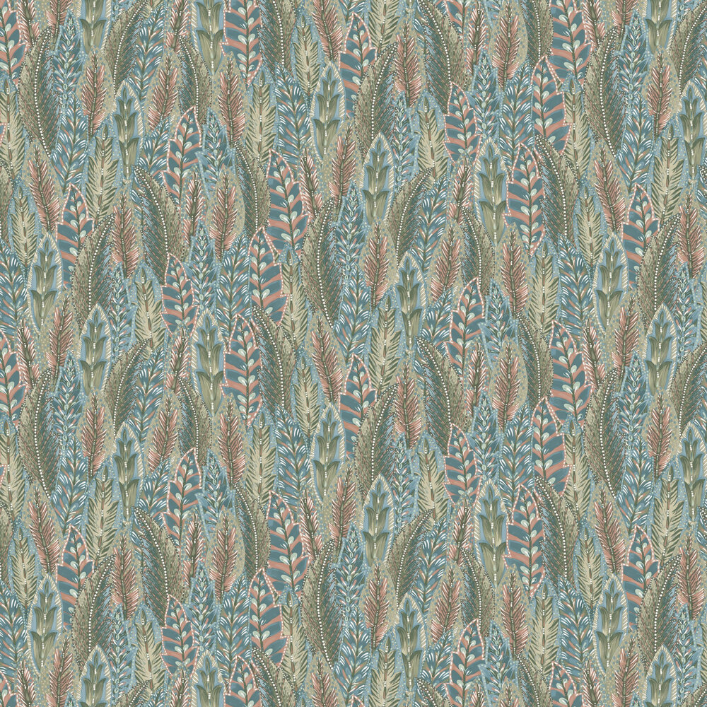 Amherst Wallpaper - Coral Blue - by Albany