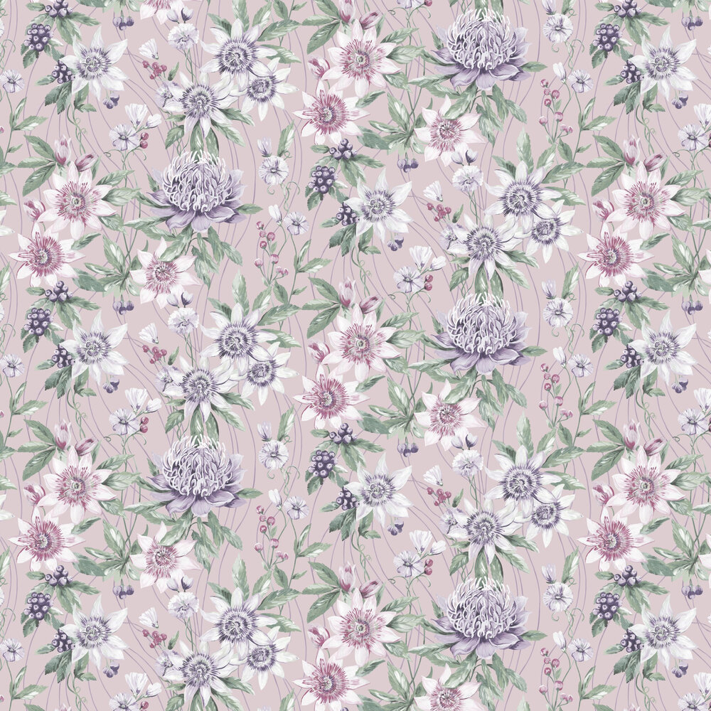 Passiflora Wallpaper - Pink - by Albany