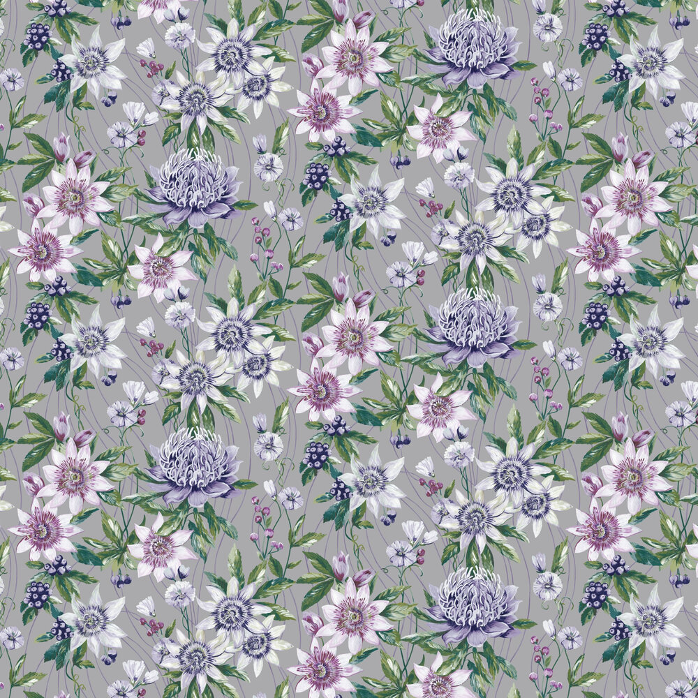 Passiflora Wallpaper - Silver - by Albany