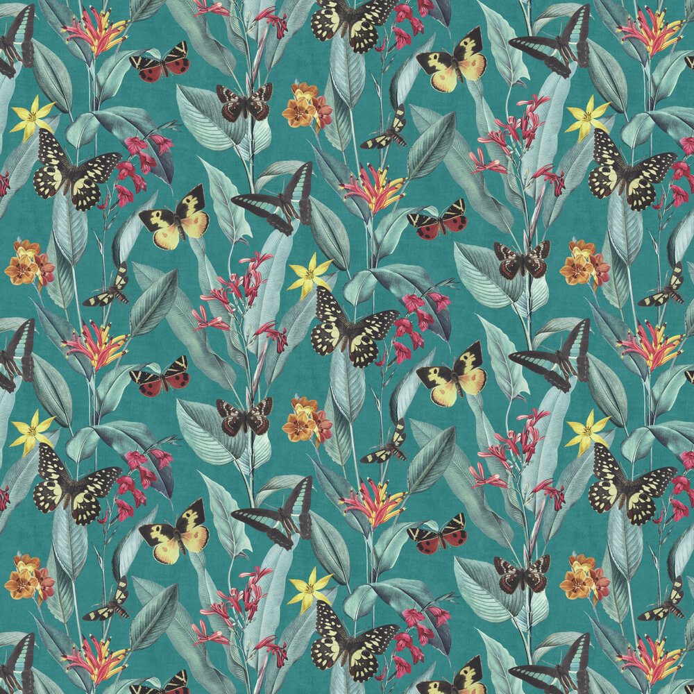 Papillon Wallpaper - Teal / Green - by Albany