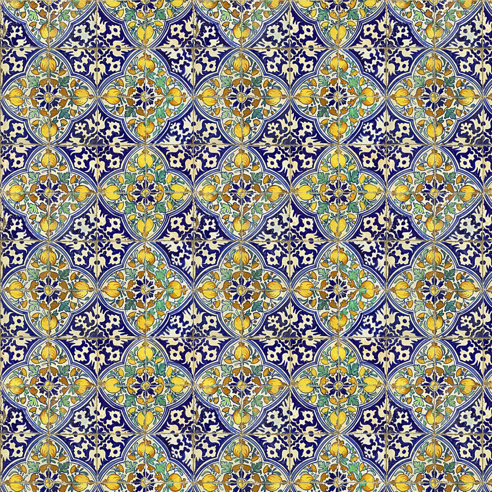 Sardegna Tiles Mural - Blue and Yellow - by Mind the Gap