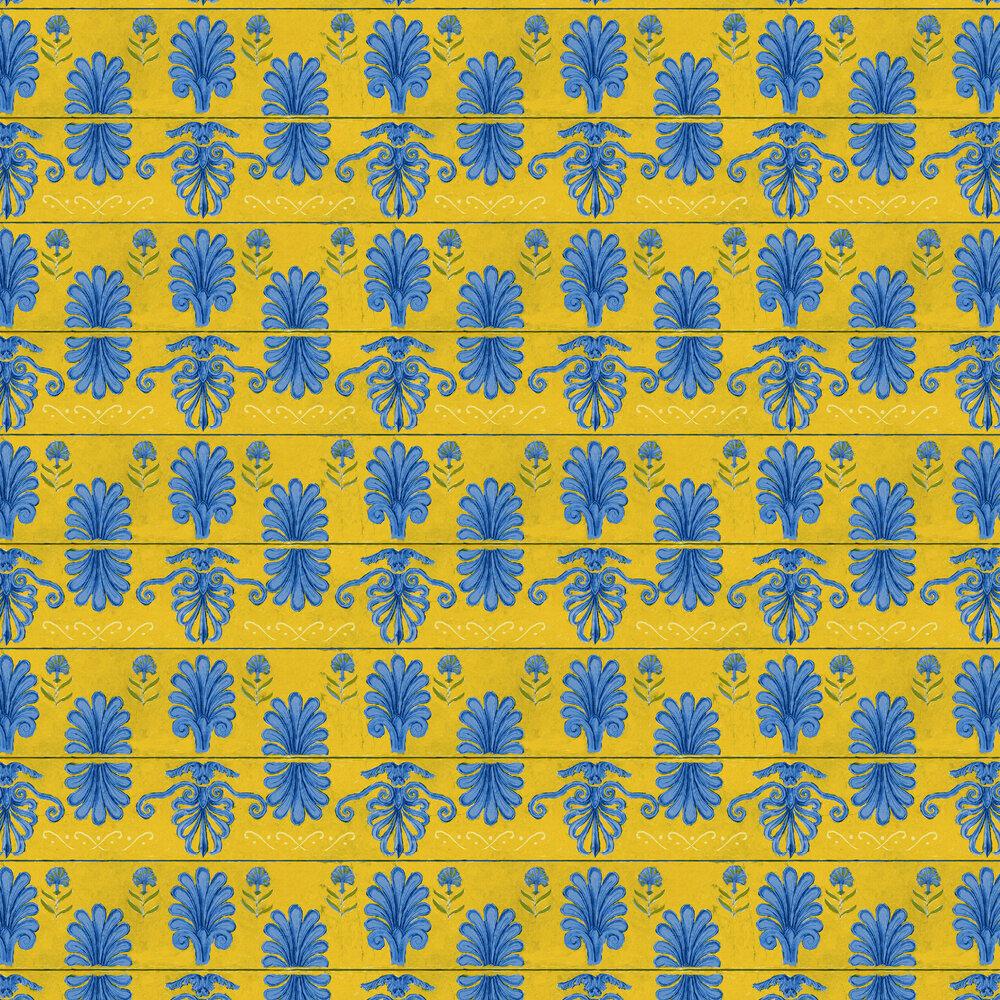 Mykonos Villa Wallpaper - Lemon - by Mind the Gap