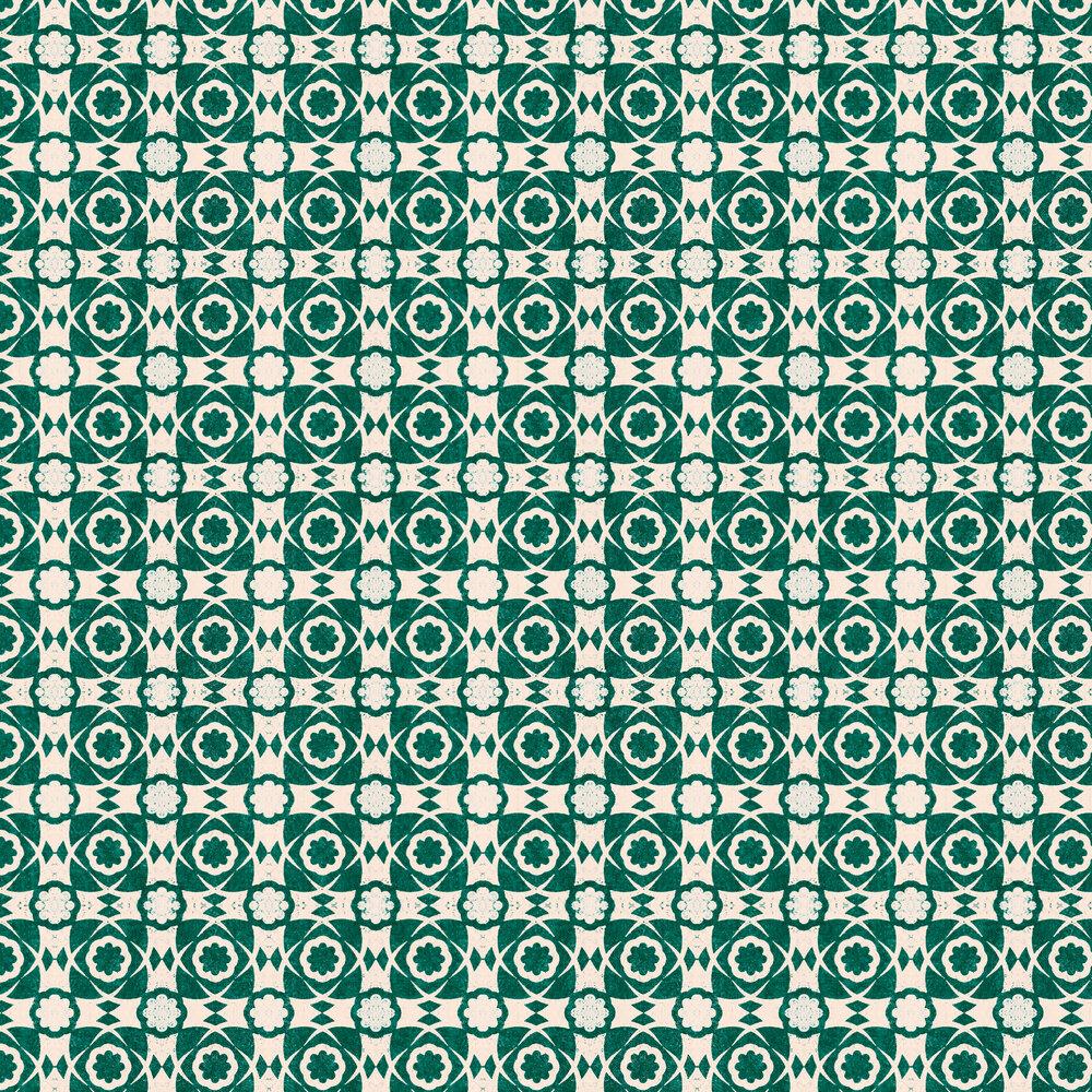 Aegean Tiles Wallpaper - Ultramarine Green - by Mind the Gap