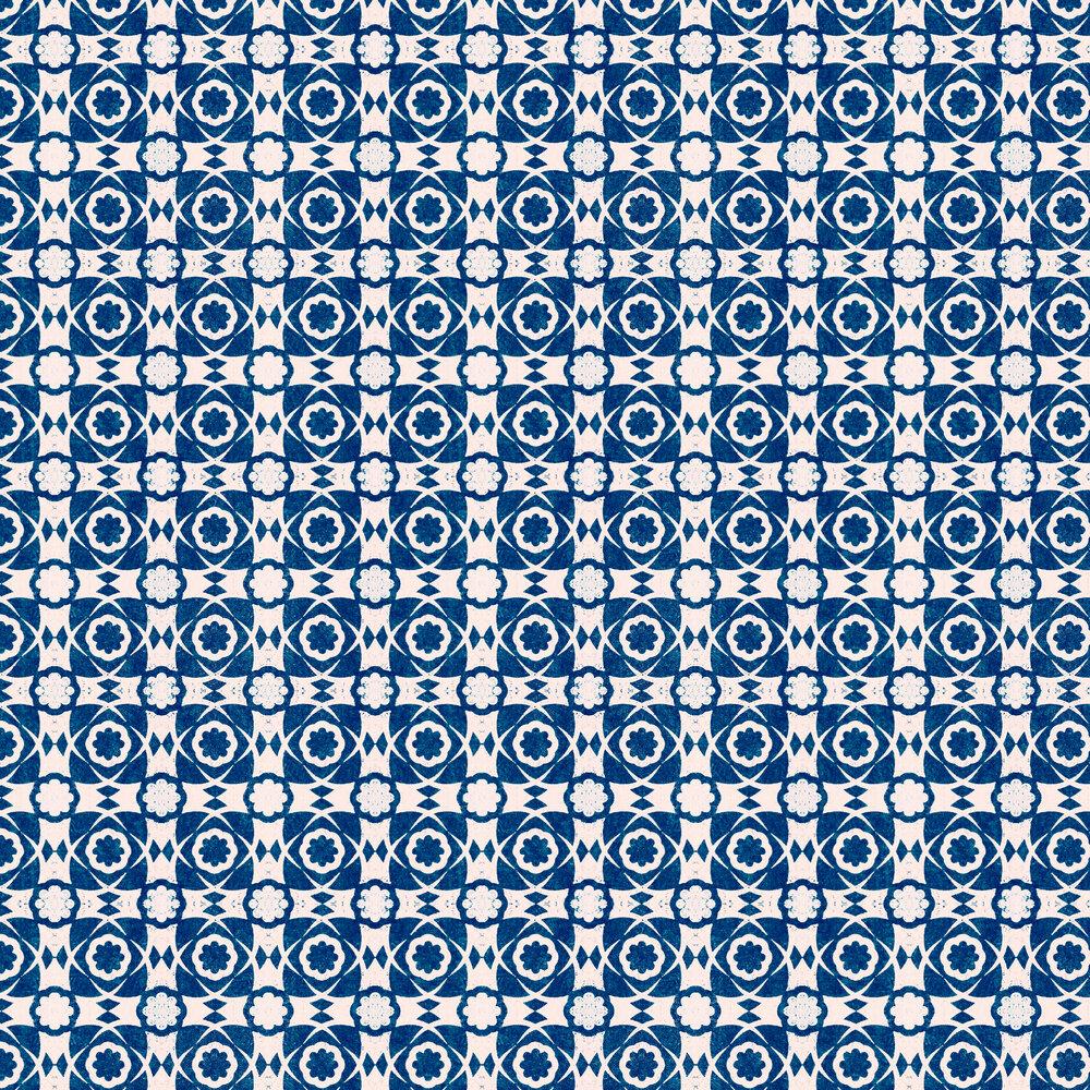 Aegean Tiles Wallpaper - Indigo - by Mind the Gap