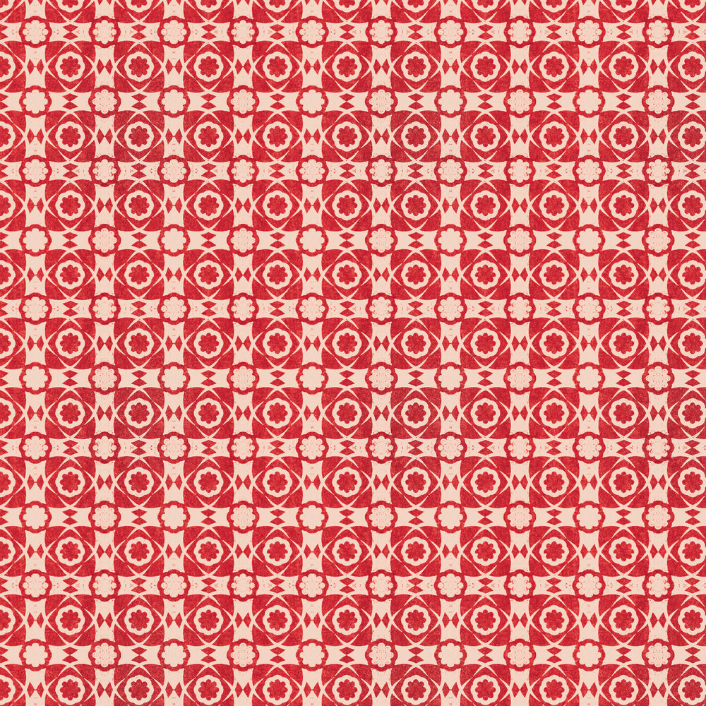 Aegean Tiles Wallpaper - Red - by Mind the Gap