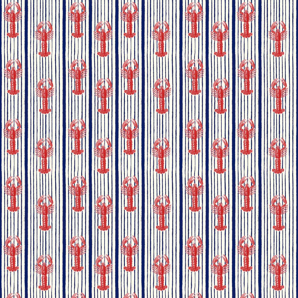 Mediterranean Lobsters Wallpaper - White - by Mind the Gap