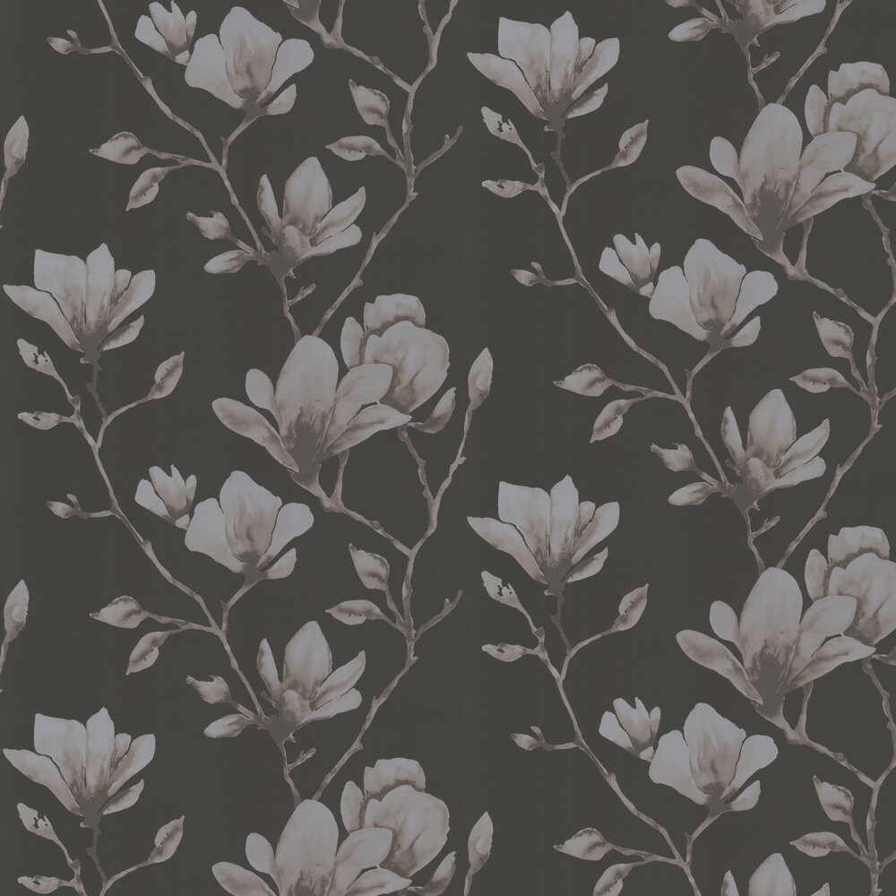 Lotus Wallpaper - Onyx/Silver - by Harlequin