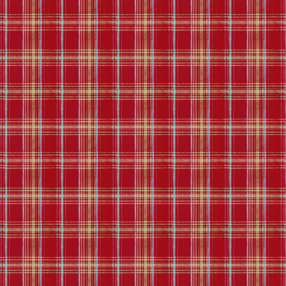 Seaport Plaid Wallpaper - Red - by Mind the Gap