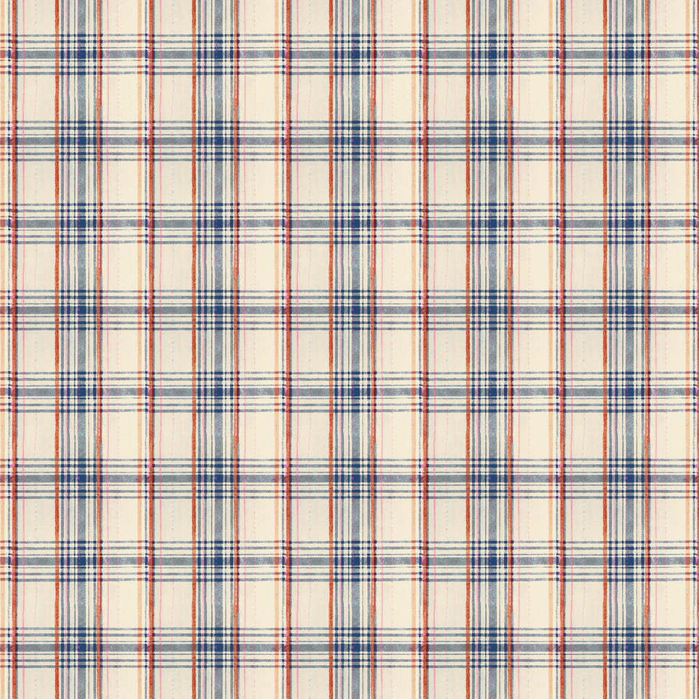 Seaport Plaid Wallpaper - Cream - by Mind the Gap