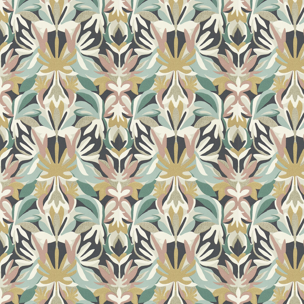 Melora Wallpaper - Positano Succulent/Gold - by Harlequin