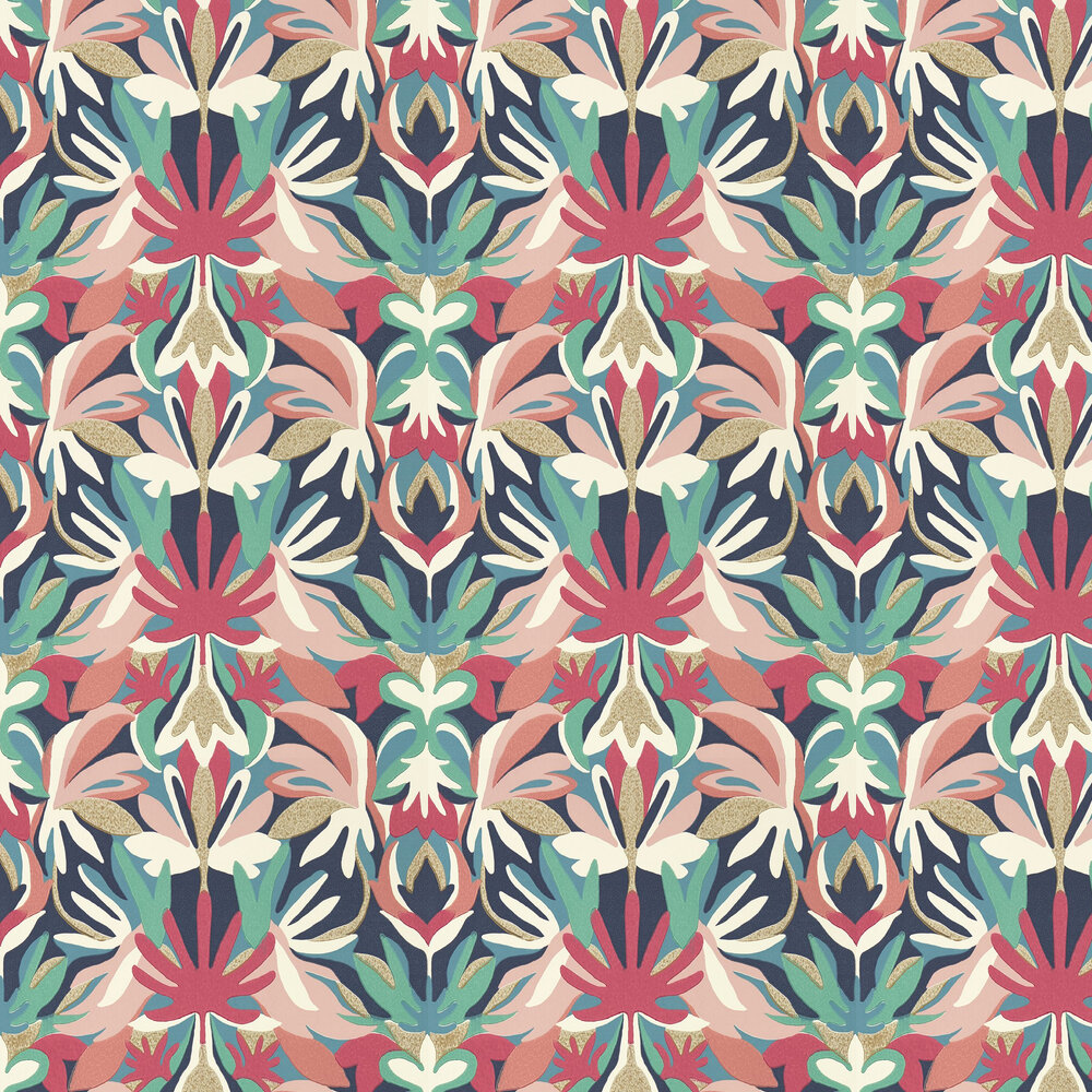 Melora Wallpaper - Brazilian Rosewood/Ink/Amazonia - by Harlequin