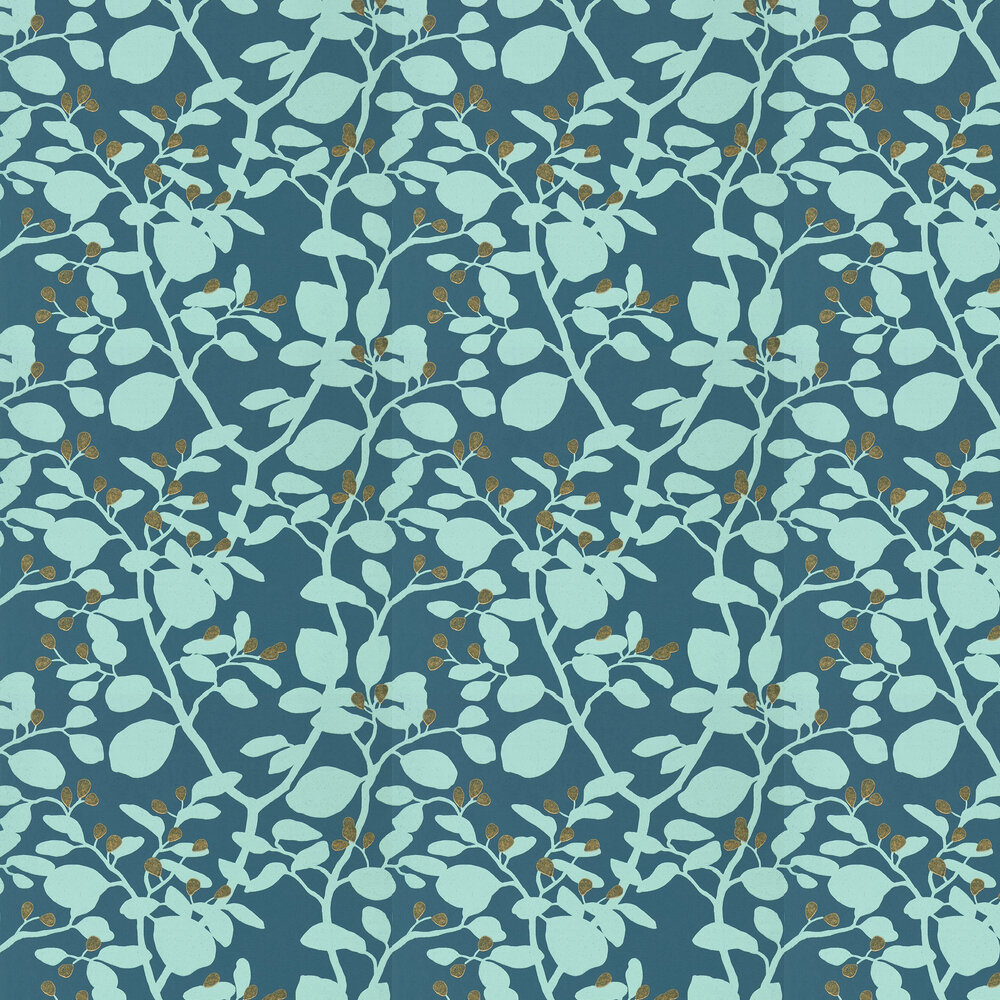 Ardisia Wallpaper - Amazonia Teal/Gold - by Harlequin
