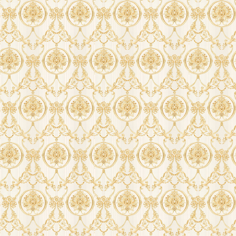 Fine Damask Wallpaper - Gold - by Albany