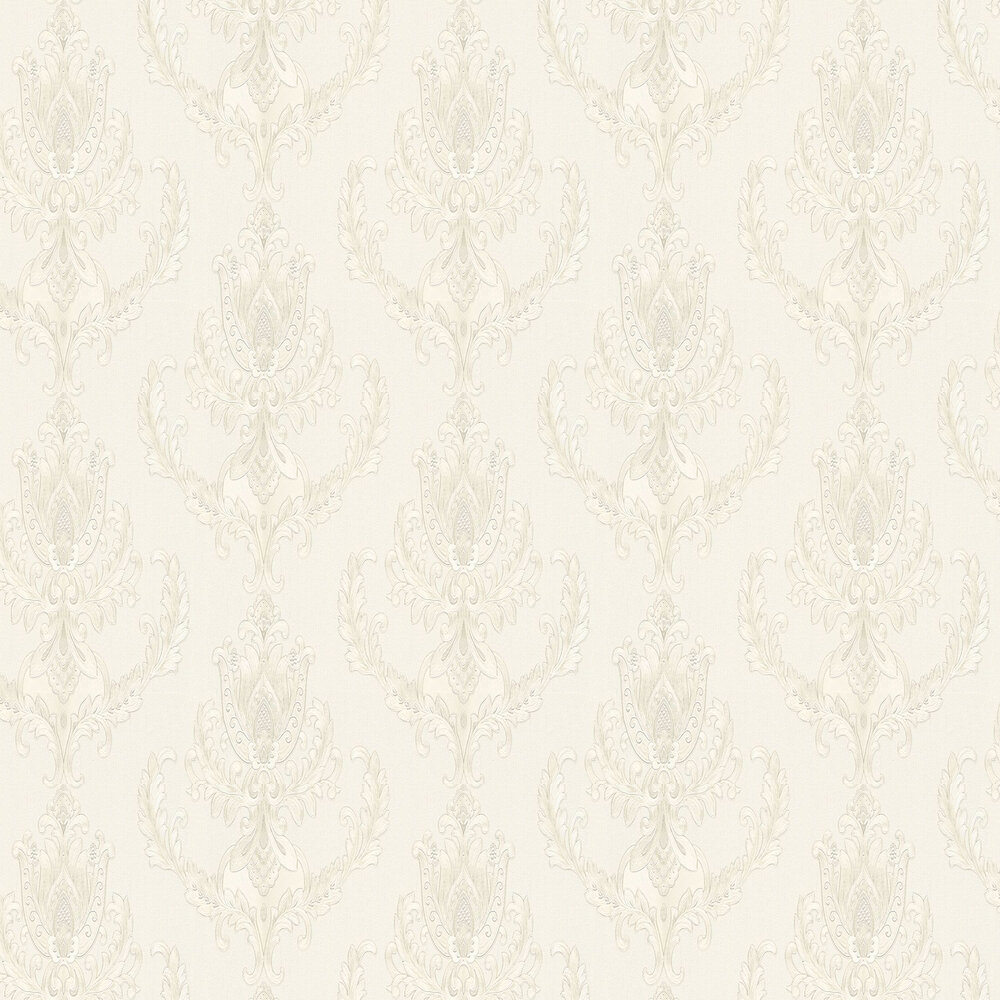 Embossed Damask Wallpaper - Silver - by Albany