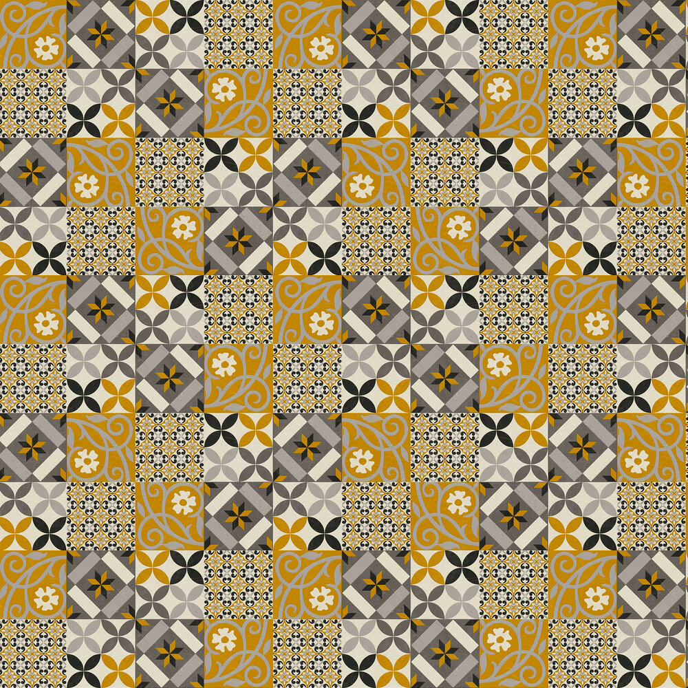Patchwork tiles Wallpaper - Ochre - by Albany