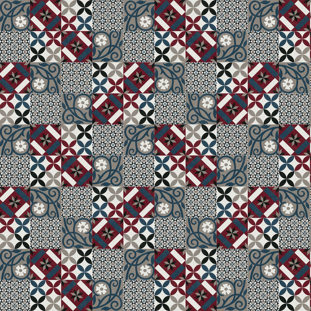 Patchwork tiles Wallpaper - Red/Blue - by Albany