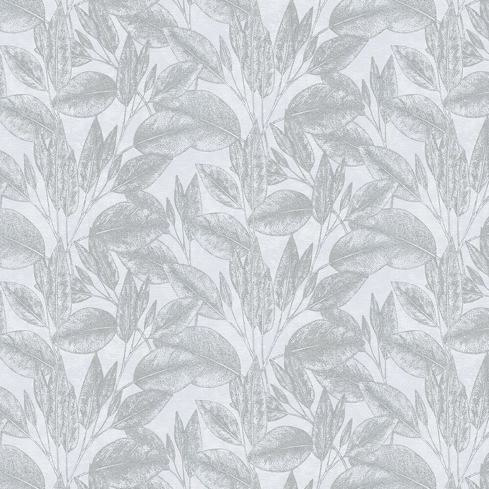 Leaves Wallpaper - White/Silver - by Albany