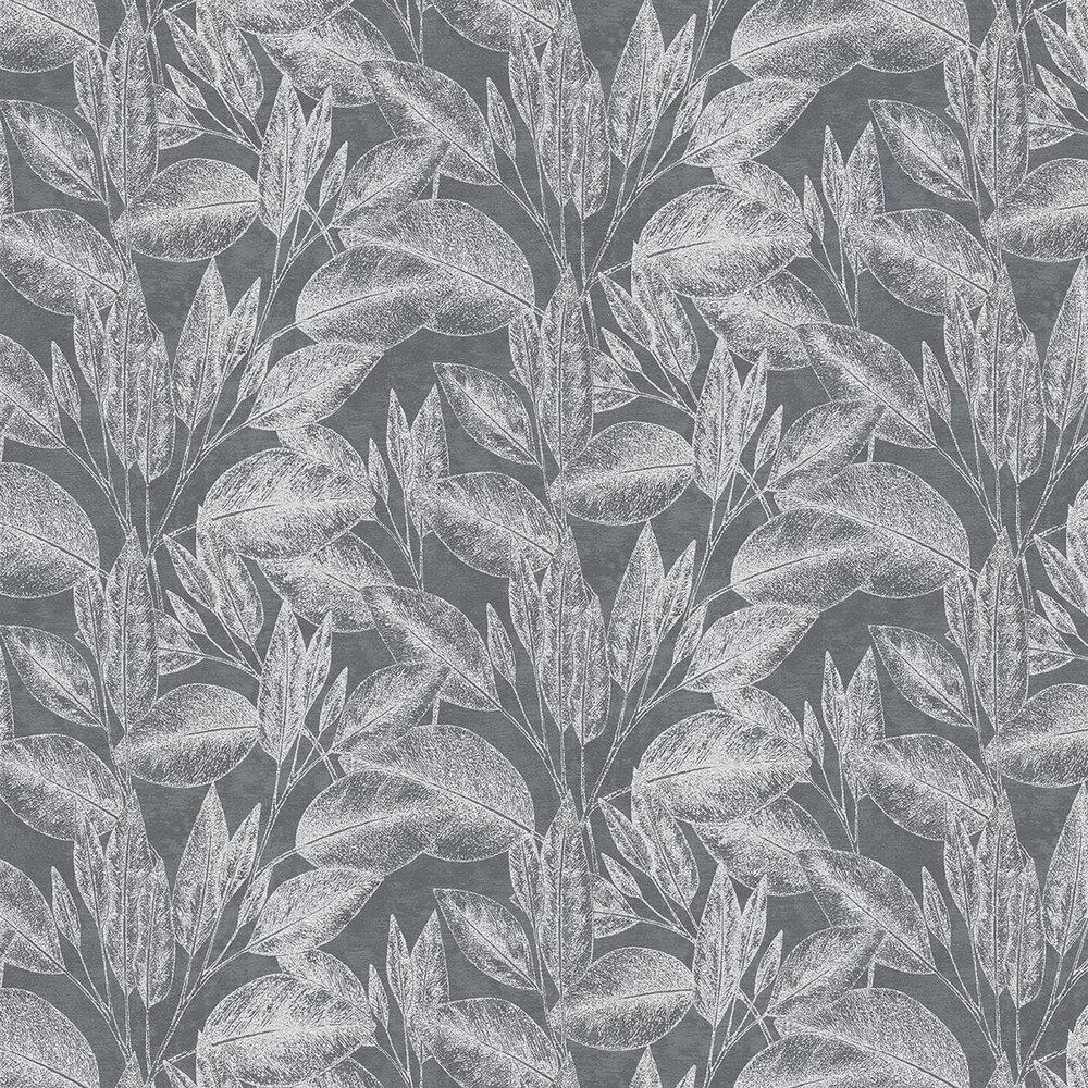 Leaves Wallpaper - Dark Grey - by Albany