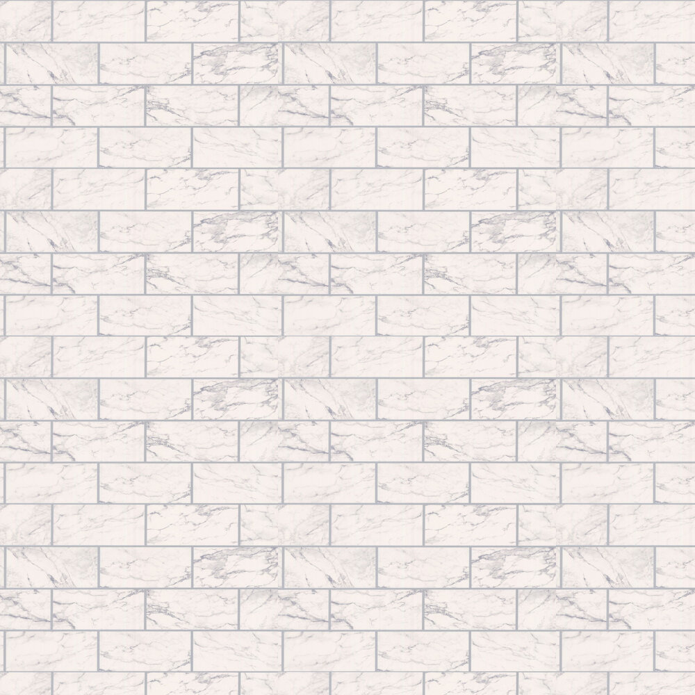 Marbled Bricks Wallpaper - White/Silver - by Albany