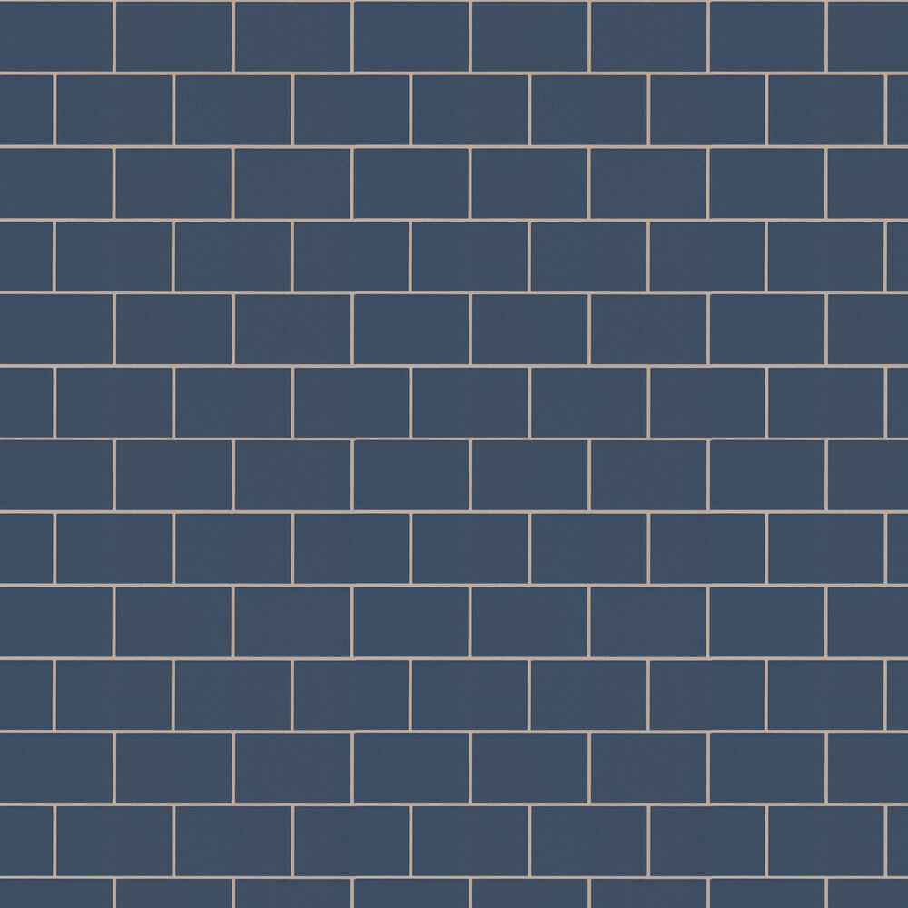 Metro Tile Wallpaper - Navy - by Albany