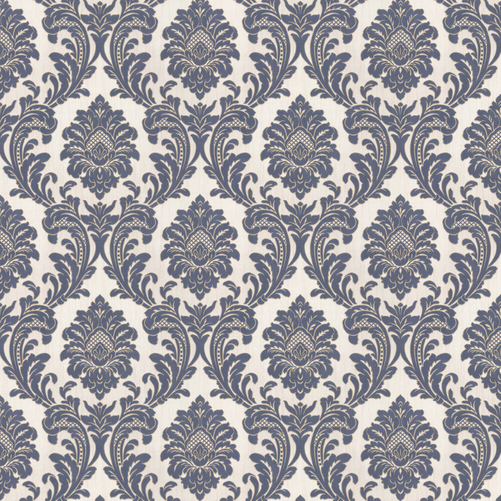 Classic Damask Wallpaper - Navy - by Albany
