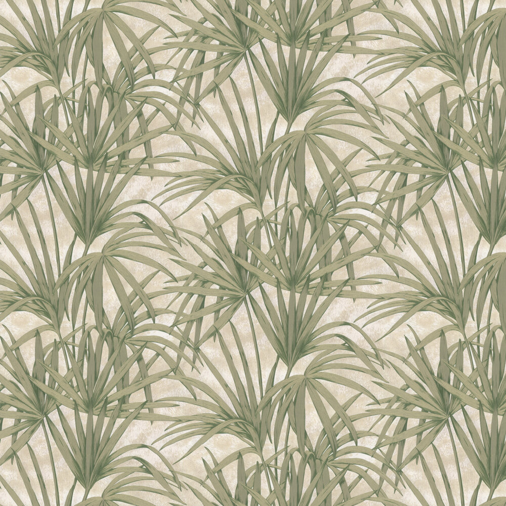 Glitter Palm Leaves Wallpaper - Green - by Albany