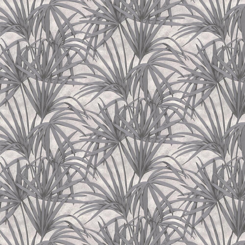 Glitter Palm Leaves Wallpaper - Dark grey - by Albany