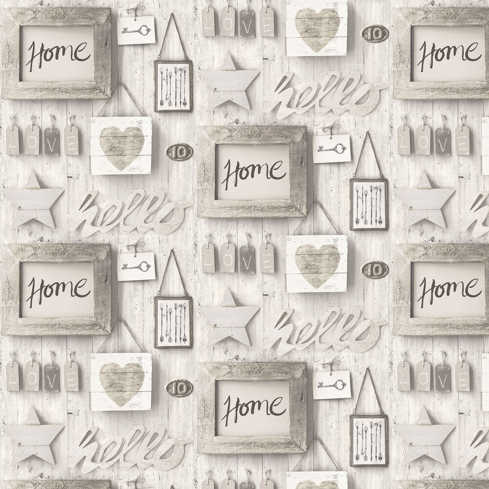 Façade Vintage Wood Wall Wallpaper - Coin Grey - by Albany