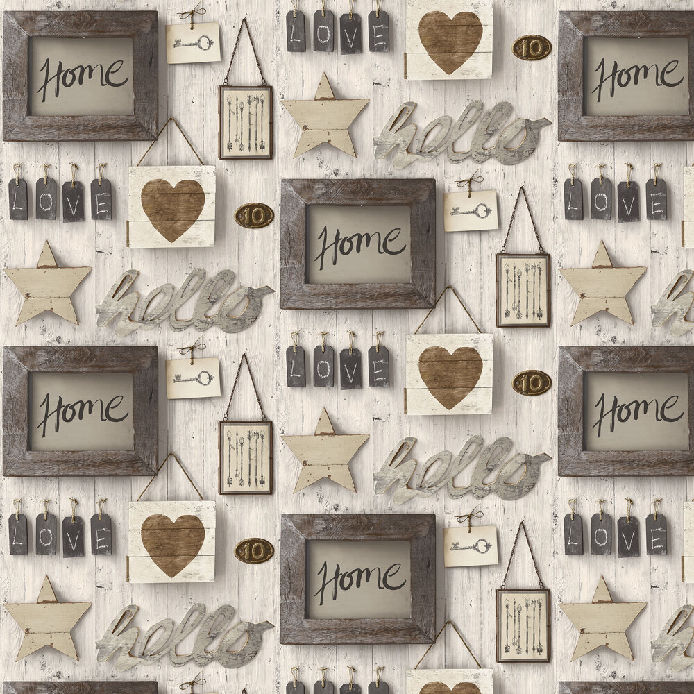Façade Vintage Wood Wall Wallpaper - Brown - by Albany